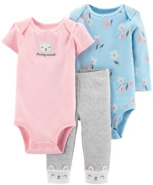 Carter's Baby Girls 3-Pc. Bodysuits & Pants Set