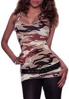 XARAZA Women's Sexy Slim Fit Camouflage Vest Tank Top Cami Shirt (US 6-8, )
