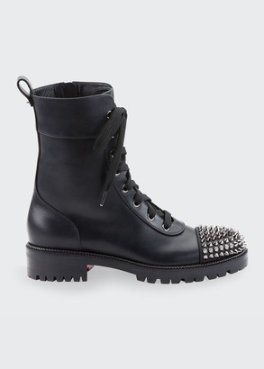 Christian Louboutin Croc Flat Red Sole Combat Booties