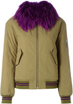 Army Yves Salomon - fur trim bomber jacket - women - Cotton/Polyamide/Polyester/Wool - 38