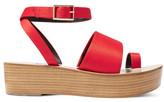 Tibi Janie Satin Platform Sandals - Crimson