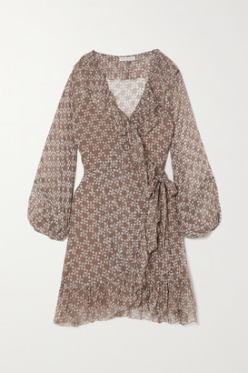 CLOE CASSANDRO + Net Sustain Kimi Ruffled Floral-print Silk-crepon Wrap Mini Dress - Brown