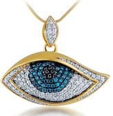 Ice 3/4 CT Blue, Black and White Diamond Yellow Sterling Silver Evil Eye Pendant Necklace