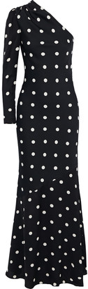 Rebecca Vallance Penelope One-sleeve Polka-dot Crepe Gown