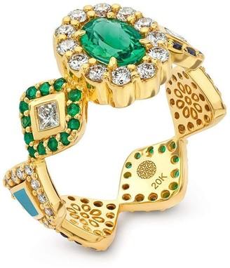 BUDDHA MAMA 20kt Yellow Gold Diamond Tourmaline Oval Ring