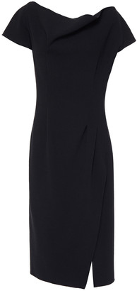 Oscar de la Renta Draped Wool-blend Crepe Dress