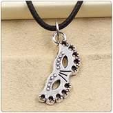 Nobrand No brand Fashion Tibetan Silver Pendant party mask Necklace Choker Charm Black Leather Cord Handmade Jewlery