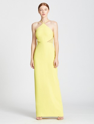 Halston Fitted Gown With Back Strip Applique