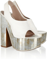 Rochas Mirrored-heel leather slingbacks