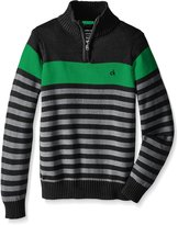 Calvin Klein Big Boys' Track Stripe Half Zip Sweater, Dark Charcoal, Medium