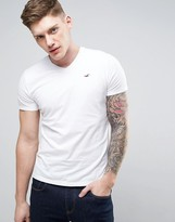 Hollister Slim Fit Core V-Neck T-Shirt With Seagull Logo In White