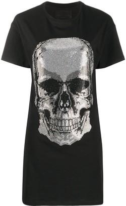 Philipp Plein Skull rhinestone T-shirt dress
