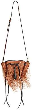Valentino Women's Garavani Small VLogo Feather-Trim Leather Bucket Bag