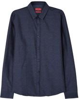 Hugo Ero Navy Cotton Jacquard Shirt