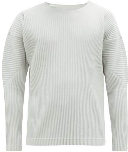 Issey Miyake Homme Plissé Homme Plisse Panelled Long Sleeved Plisse T Shirt - Mens - Grey