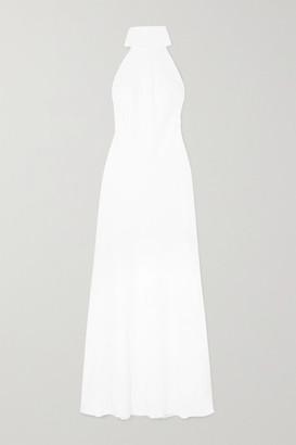 Galvan Sienna Crepe Halterneck Gown - White