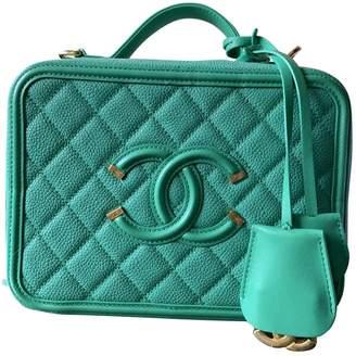 Chanel Vanity Green Leather Handbags