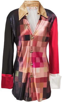 Marni Color-block Printed Satin Shirt