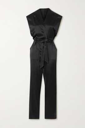 RtA Cynthia Belted Wrap-effect Silk-satin Jumpsuit - Black