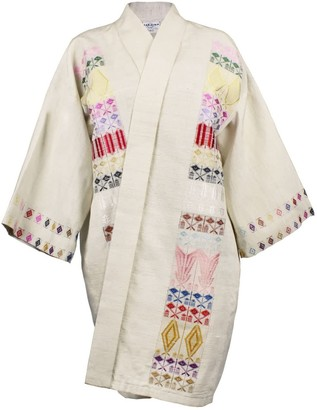 Maraina London Matilde Kimono Style Jacket In Beige