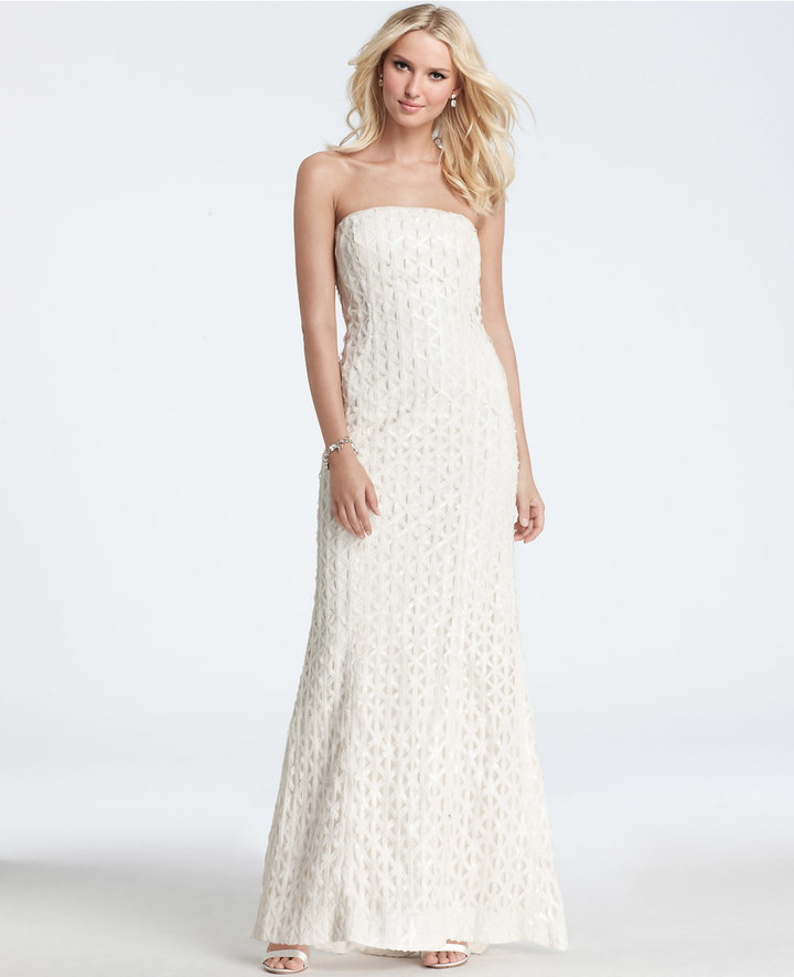 Ann Taylor Geometric Embroidered Sequin Strapless Wedding Dress