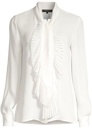 Lafayette 148 New York Bates Pleated Neckline Silk Blouse