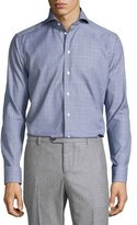 Eton Glen-Plaid Long-Sleeve Sport Shirt, White/Black