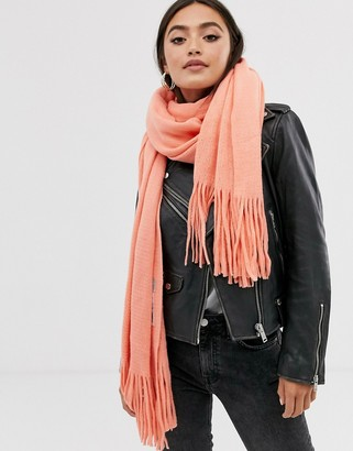 Asos Design DESIGN long tassel scarf in supersoft knit-Orange