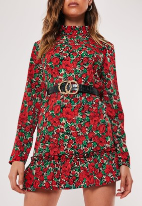 Missguided Red Floral High Neck Drop Waist Smock Dress