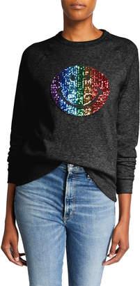 Melissa Masse Sequin Smiley Face Raglan-Sleeve Sweatshirt
