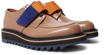 Webbing And Suede Trimmed Polished Leather Derby Shoes