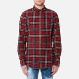 DSQUARED2 Men's Wired Collar Check Shirt Red/Blue