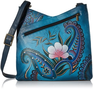 Anna by Anuschka Women's Genuine Leather Large V Top Multi-Compartment Cross Body | Hand Painted Original Artwork | Rustic Bouquet