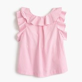 J.Crew Girls' ruffle top in pink stripe