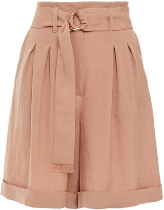 Nanushka Colorado Belted Pleated Woven Shorts