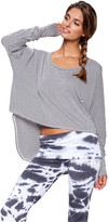Saint Grace Micro Stripe Shirttail Top in White