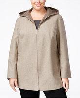 London Fog Plus Size Wool-Blend Hooded Walker Coat