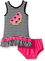 Rare Editions Baby Little Girls' Striped Knit Dress with Watermelon Applique