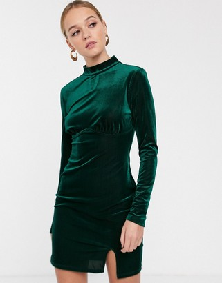 Glamorous high neck mini dress with structured bodice in velvet-Green
