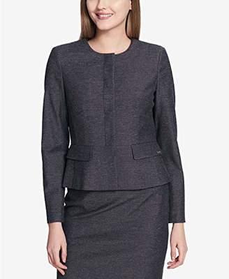 Calvin Klein Women's Petite Hidden Button Blazer with Peplum