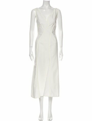 Thierry Mugler V-Neck Long Dress White