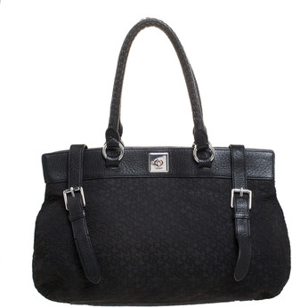 DKNY Black Signature Canvas and Leather Tote