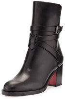 Christian Louboutin Karistrap Leather 70mm Red Sole Ankle Boot, Black