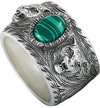 Gucci Garden Sterling Silver And Green Resin Feline Head Motifs Ring