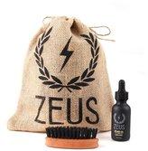 Zeus Beard Oil Kit for Men - Natural Beard Conditioner Softener Kit with 100% Boar Bristle Beard Brush