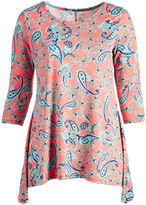 Glam Coral & Blue Paisley Sidetail Tunic - Plus