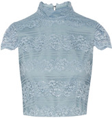 Alice + Olivia Julia Cropped Lace Top - Light blue