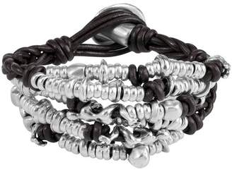 Uno de 50 Cheetah Beaded Cluster Braided Leather Bracelet