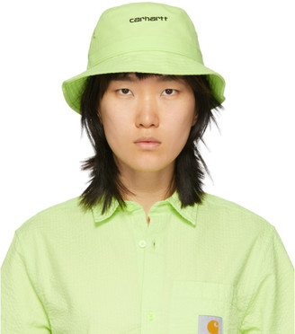 Carhartt Work In Progress Green Script Bucket Hat