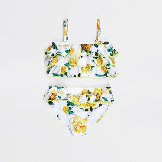 River Island Mini girls White rose print frill bikini